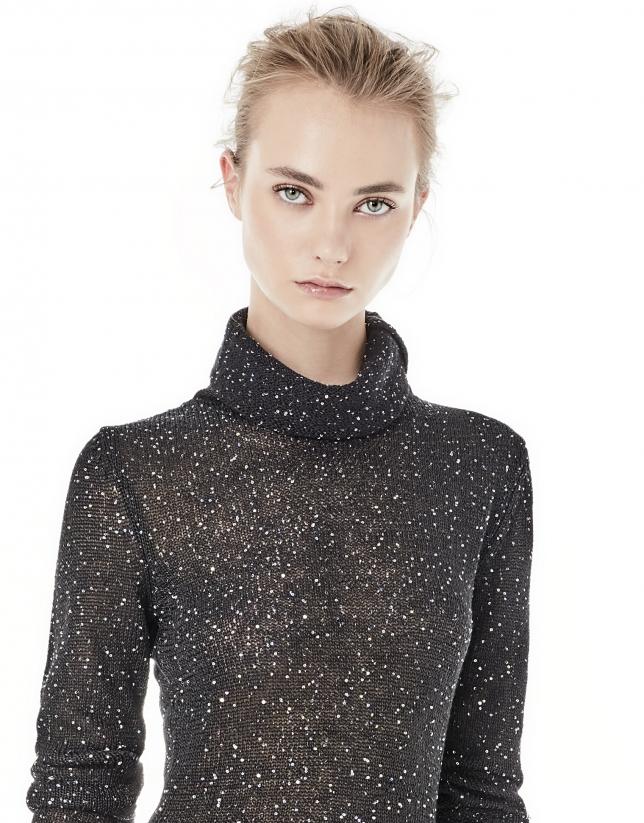 Camiseta punto y lentejuelas negra