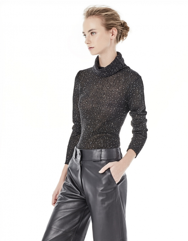 Black knit top with sequins