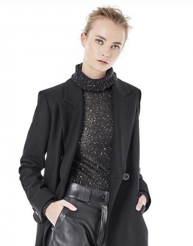 T-shirt noir en maille et paillettes