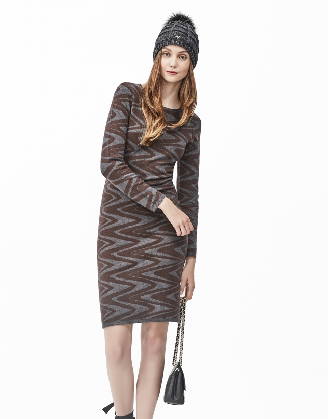 Brown zig zag knit dress