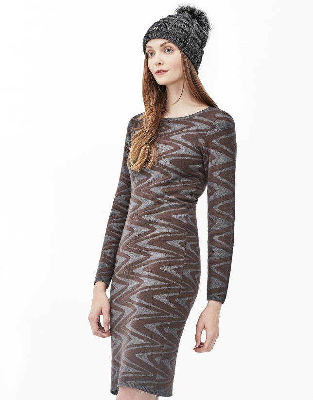 Robe en maille zigzag marron