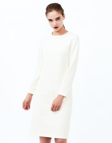 Vestido recto manga larga blanco roto