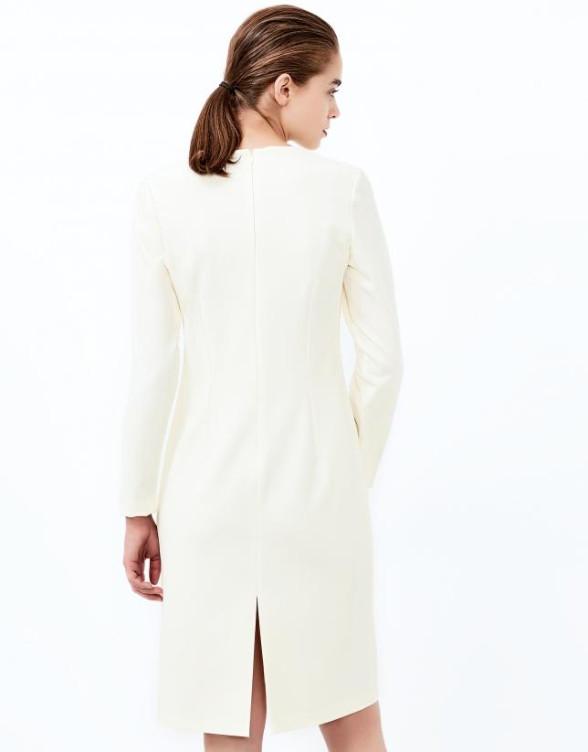 Off white, long sleeve straight dress
