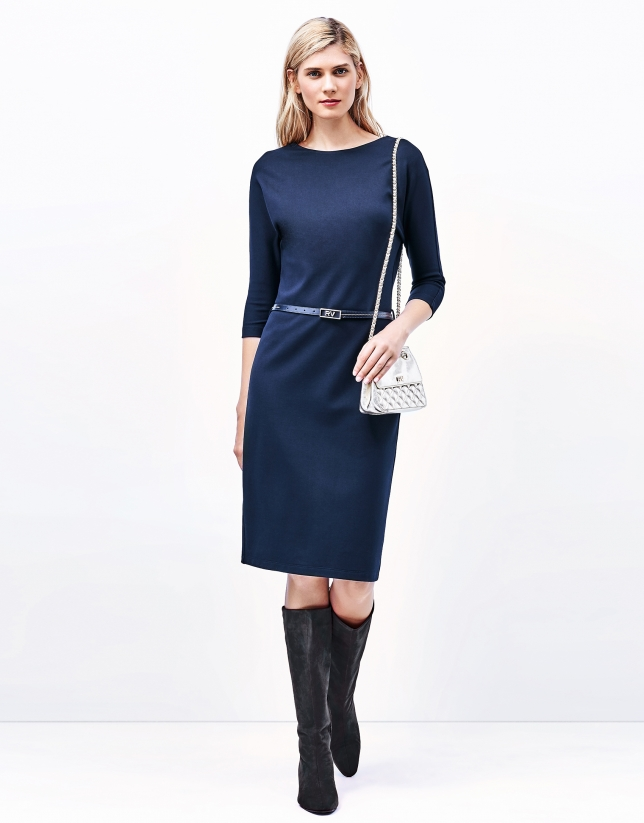 Blue dress with boat neck
