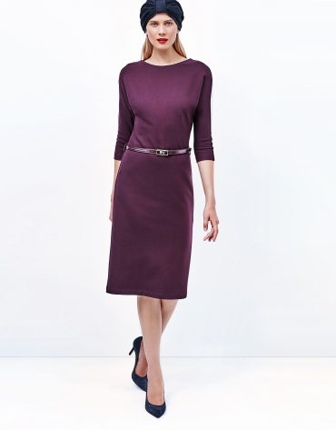 Aubergine dress with boat neck