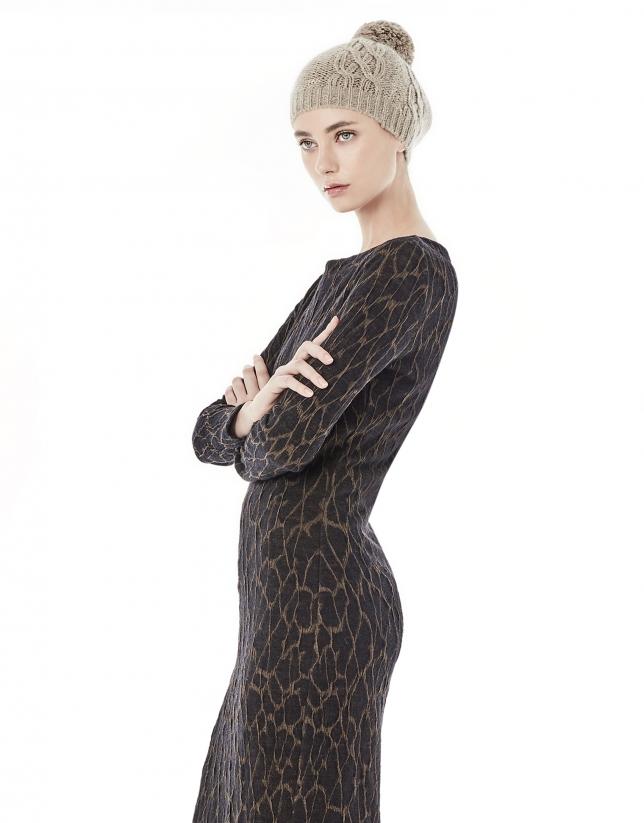 Print long sleeve knit dress