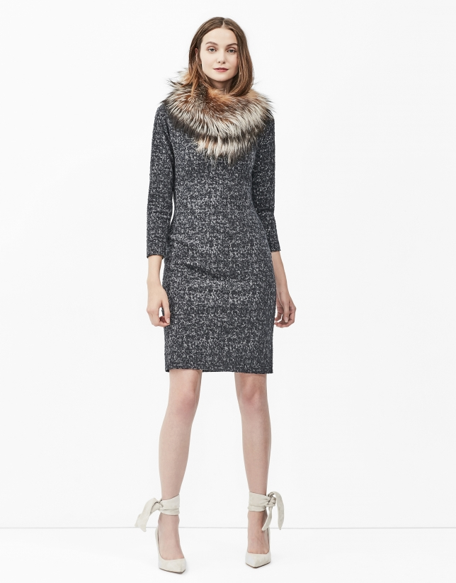 Grey knit dress with boat neck