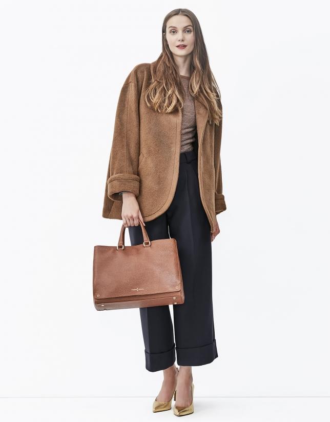 Brown funnel neck coat