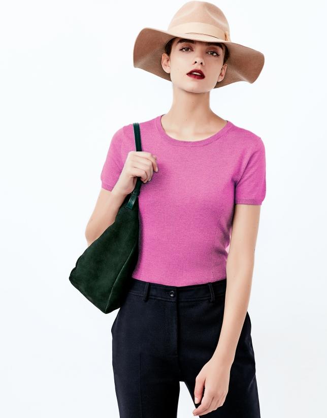 Pink short sleeve sweater
