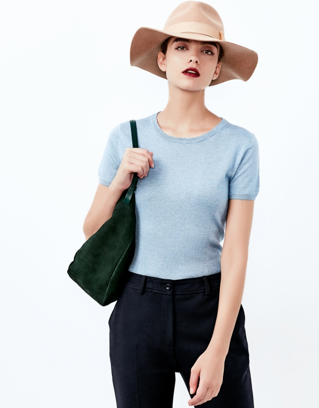 Blue short sleeve sweater