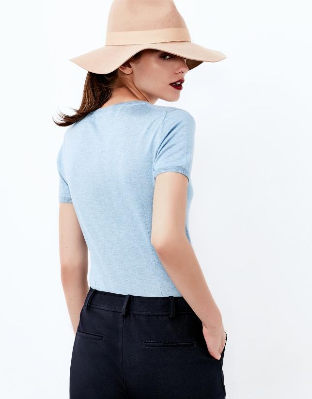 Pull à manches courtes bleu