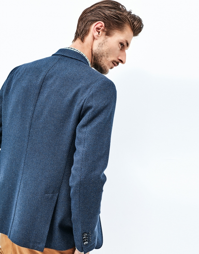 Blue wool and cotton jacket