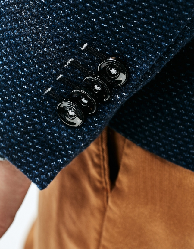 Veste bleu en coton et laine