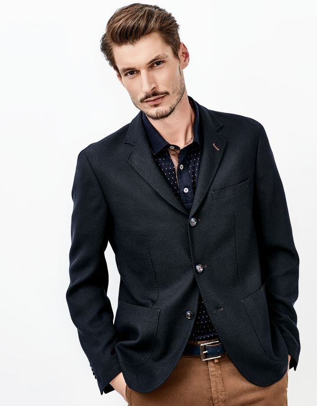 Navy jacket with patch pockets
