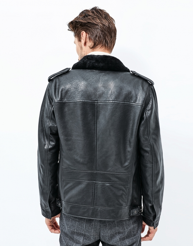 Black leather parka