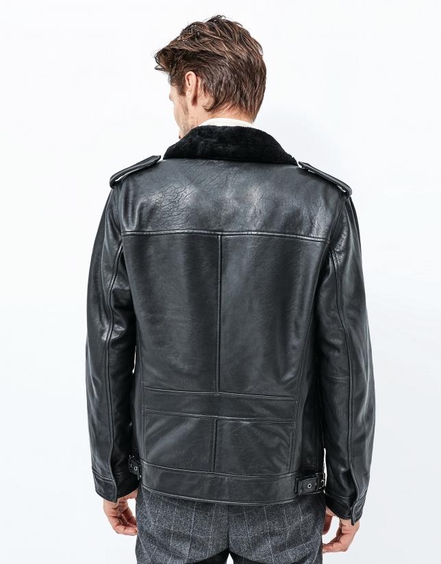 Blouson en cuir noir