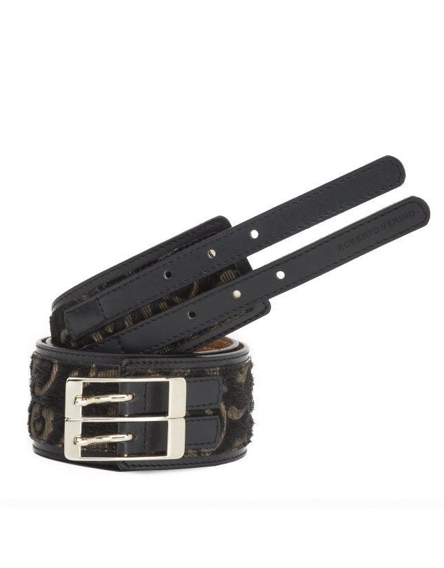 Brown embossed fur belt