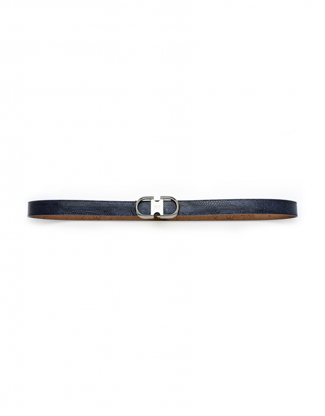 Blue snakeskin belt
