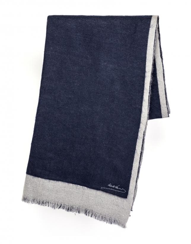 Foulard bleu et gris