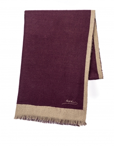 Burgundy and camel scarf