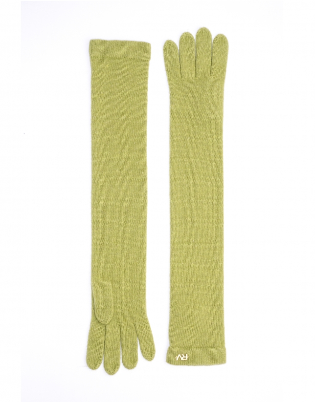 Long green knit gloves