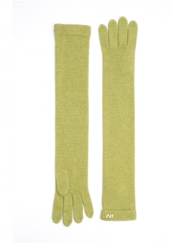 Long green knit gloves