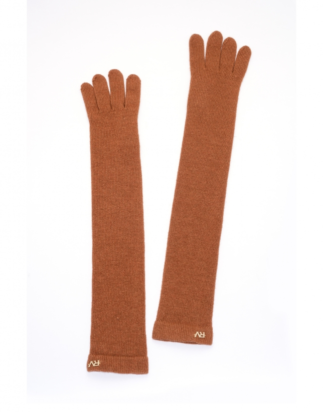 Long terra cotta knit gloves