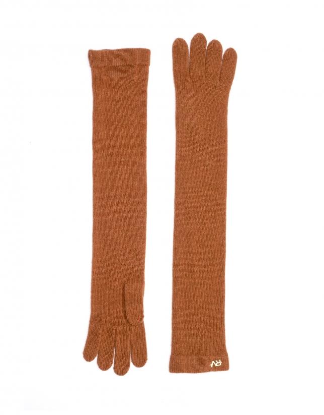 Long gant en maille cuivre