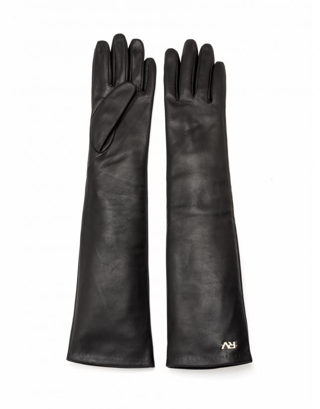 Long gant en cuir noir