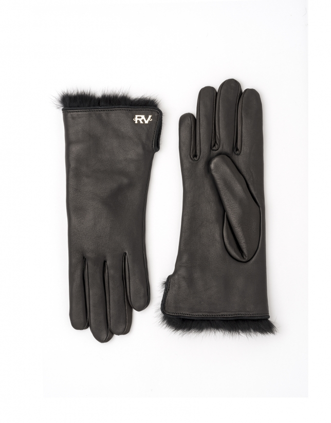 Black leather / fur gloves