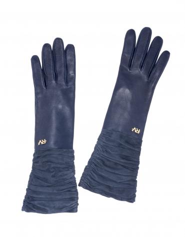 Long gant en cuir/daim bleu nuit