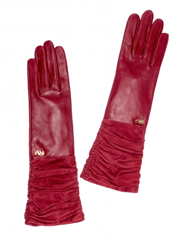 Long burgundy suede /leather gloves