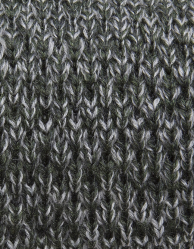 Green and gray knit tie