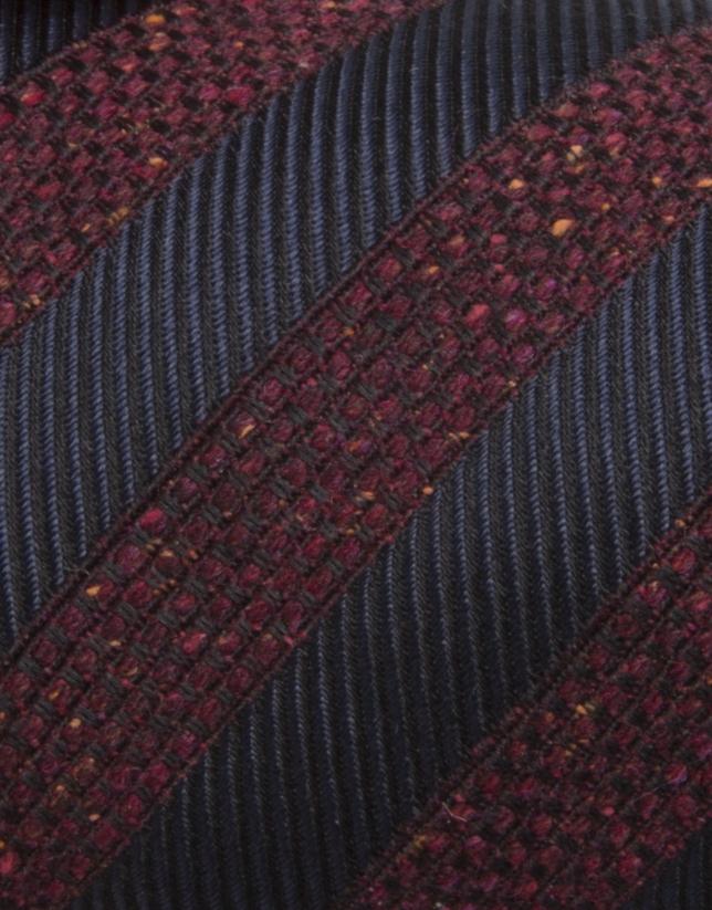 Burgundy striped knit tie