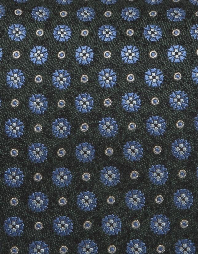 Corbata flores azul