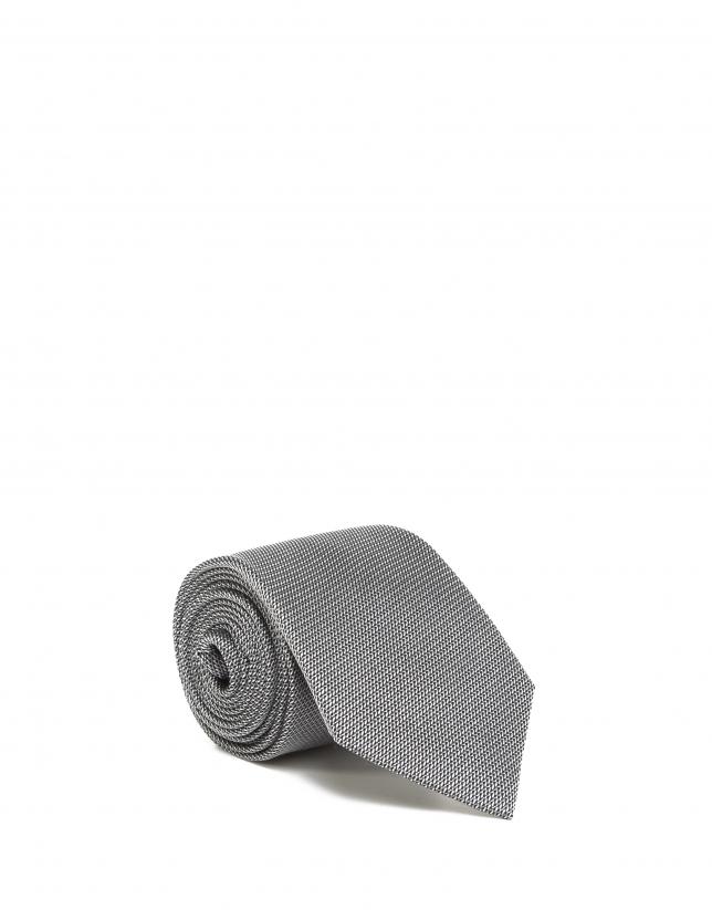 Corbata seda gris