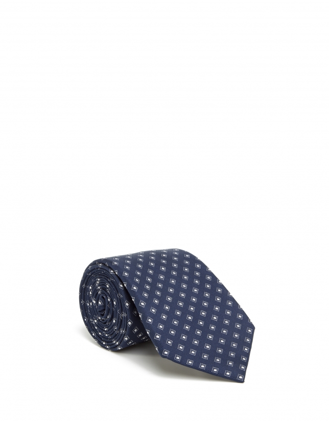 Off white and blue checked tie