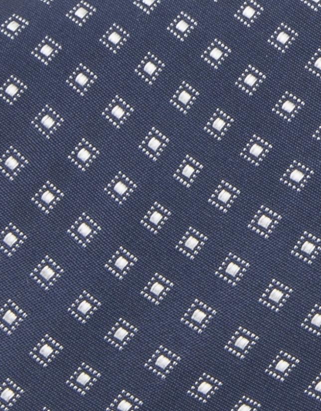 Corbata cuadros azul y blanco roto