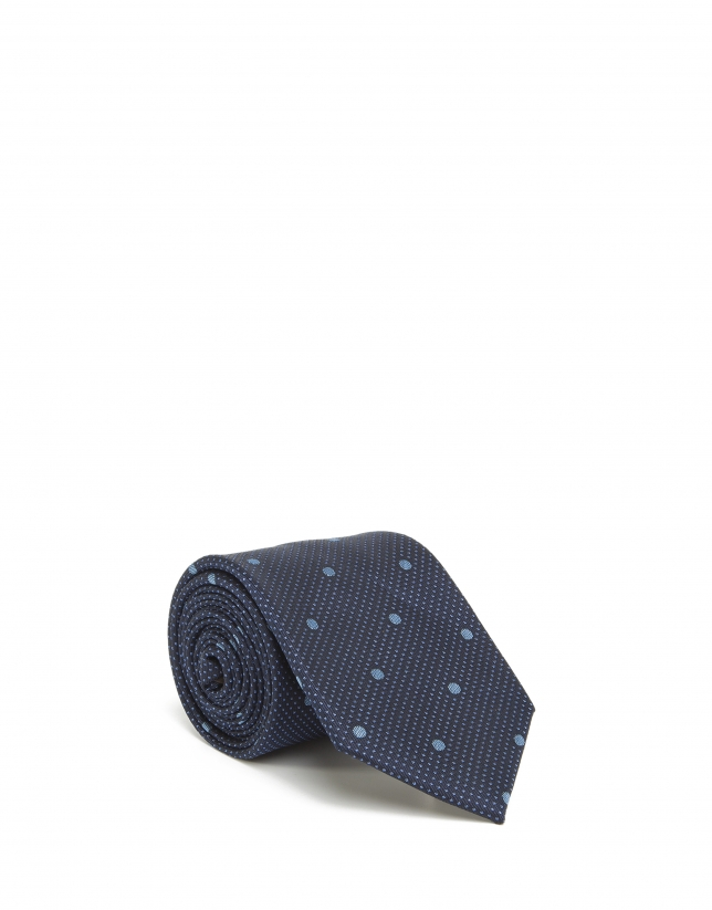 Cravate bleu clair à pois