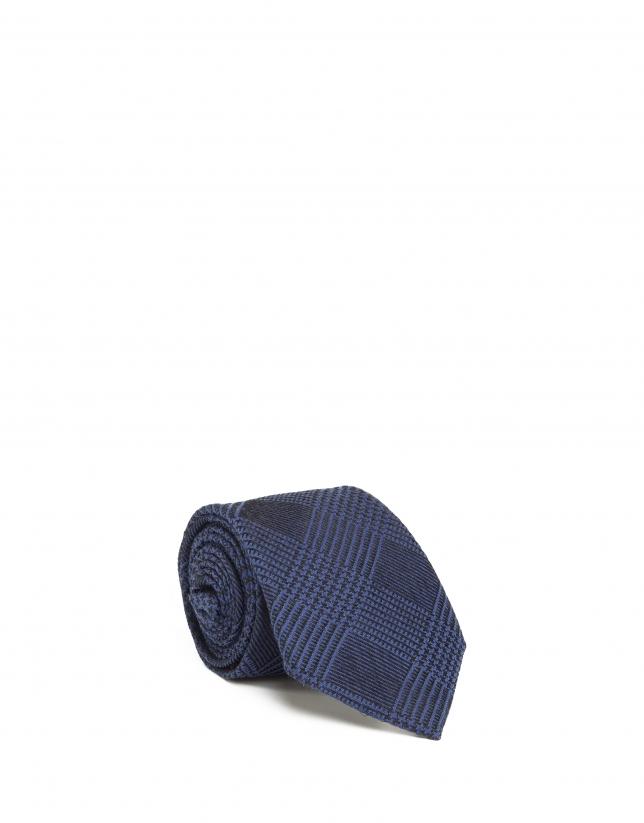 Corbata cuadro gales azul