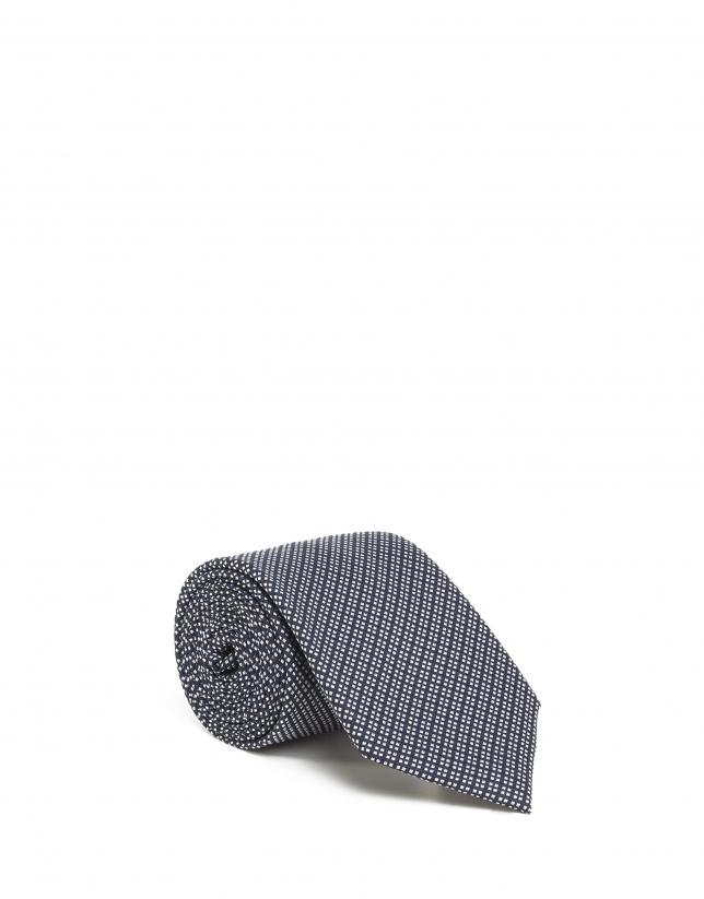 Corbata cuadritos marino/blanco