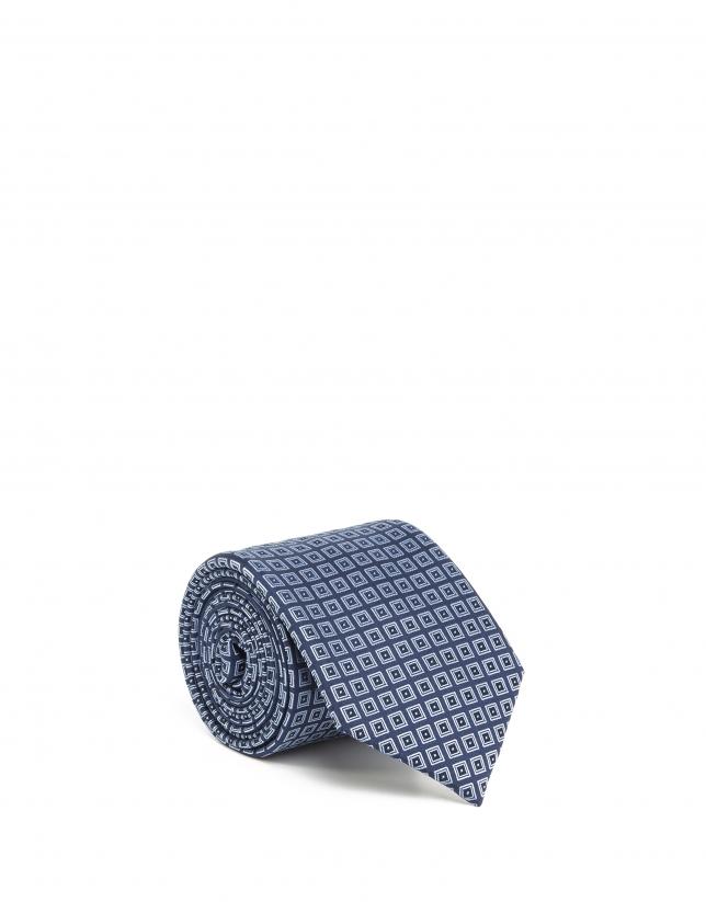 Corbata rombos jacquard azul
