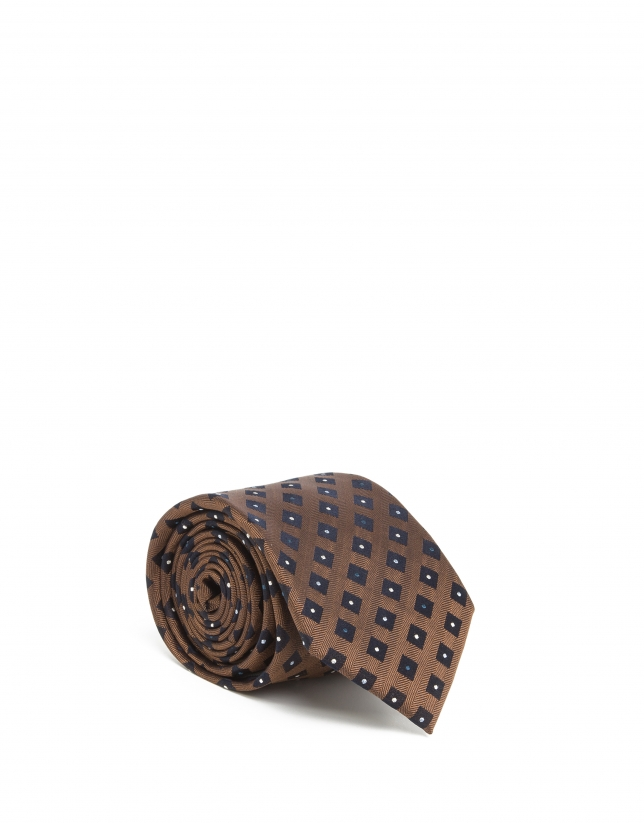 Blue and gold silk tie