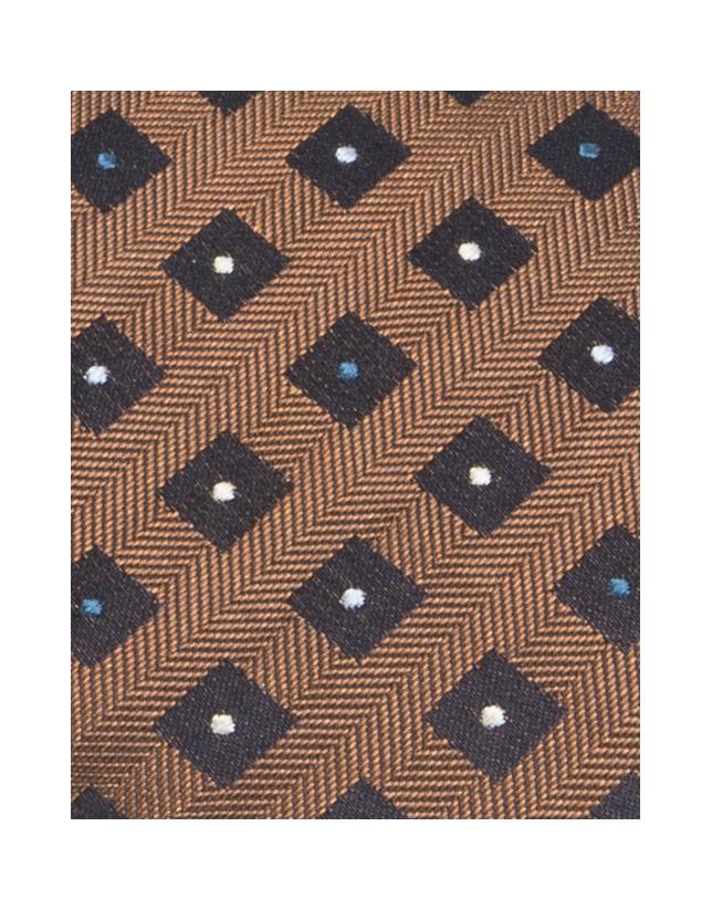 Cravate en soie dorée et bleue