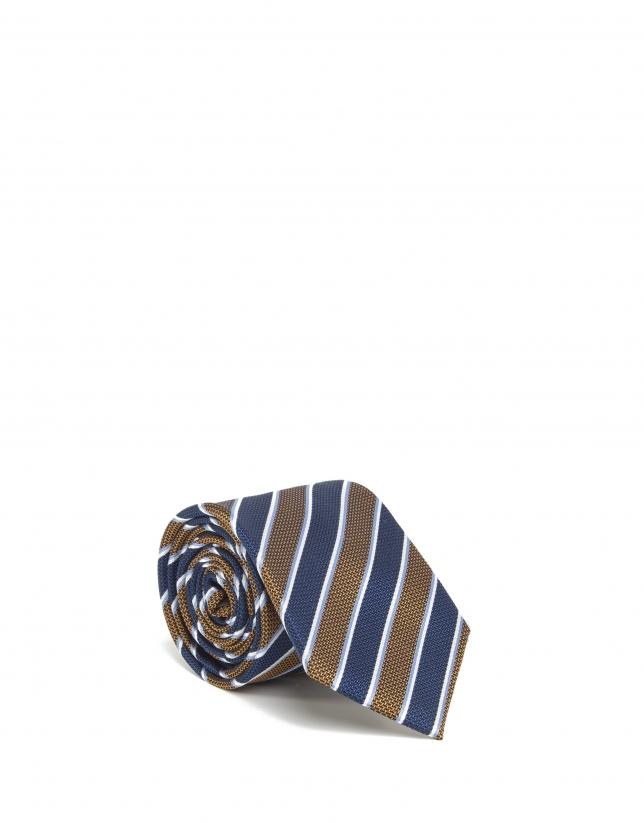 Cravate bleu marine à rayures