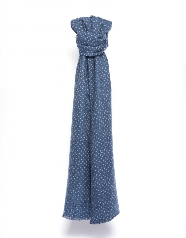 Foulard bleu à pois