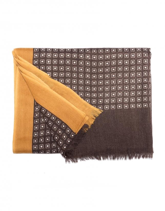 Foulard cuadros marrón y beige