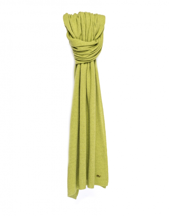 Plain green knit scarf