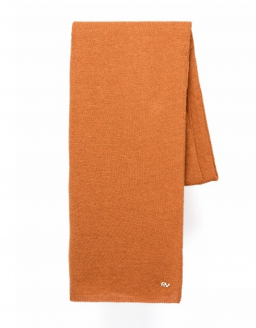 Plain terra cotta knit scarf