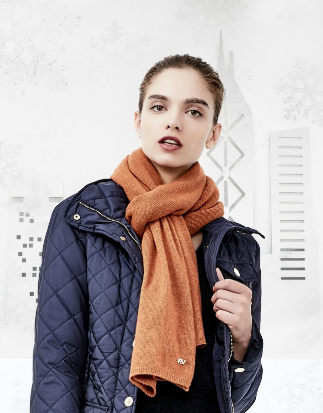 Plain terra cotta knit scarf